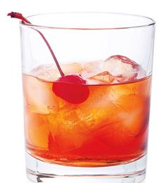 MANHATTAN. 2 dashes angostura bitters, 1 ounce sweet vermouth, 2 1/2 ounces bourbon (such as Buffalo Trace), 1 maraschino cherry. Fill a short glass 2/3 full with ice. Add bitters, vermouth, and bourbon. Add cherry (and crush it against the side of the glass with a spoon). Stir.