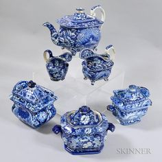 Six Staffordshire Blue and White Transfer-decorated Tableware Items - Price Estimate: $400 - $600