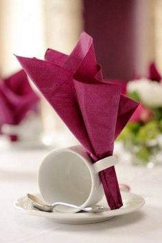 Cranberry Coloured Folded Table Napkin ....