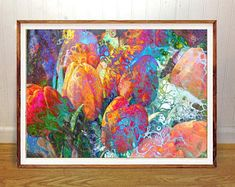 Floral tulips wall art print, abstract, home wall decor, apartment wall art, gift, poster, vacation cottage art