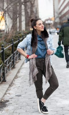 layered look -- denim on denim