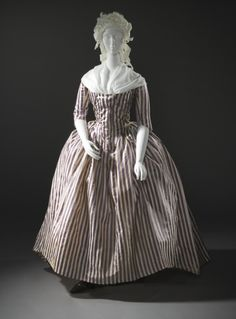 Woman's Robe à l'Anglaise (France, 1785-1790) Silk twill and silk plain-weave stripes. Center back length: 62 in. (157.48 cm).