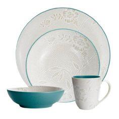 Amazon.com: Noritake Colorwave Turquoise Bloom 4-Piece Place Setting, Coupe Shape: Kitchen & Dining