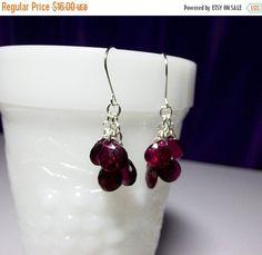 30% Off SALE thru Wedn Ruby Red Quartz Cluster Gemstone Earrings, Valentines Mothers Day Bridesmaid Mom Sister Girlfriend Wife Birthday Jewe