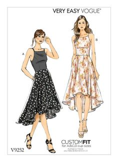 V9252 Close-fitting dress has front and back princess seams lined bodice, in seam pockets and high low hemline: wrong side of fabric will show. A: Contrast bodice and straps. A, B, C, D Cup Sizes. Summer 2017