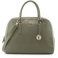 Furla Elena Leather Domed Satchel Bag ($256) ❤ liked on Polyvore featuring bags, handbags, salvia, leather purse, dome satchel, top zip satchel, leather dome satchel and furla purses