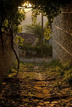 Sunset on the old narrow streets of Berat, Albania (by keepwaddling1).