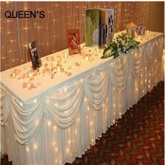 Fashion White Ice Silk Solid Table Skirt for Wedding Decoration Table Skirting 20ft (6M) length