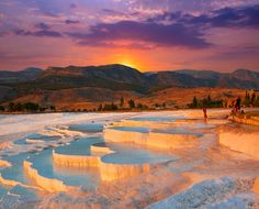Things to do in Pamukkale Cotton Castle Turkey. History, facts, attractions, what to see in Pamukkale Turkey and information. Pamukkale, Istanbul, Beautiful Sunrise, Travertine, Amazing Destinations, Natural Wonders, Hot Springs, Vacation Trips, Wonders Of The World
