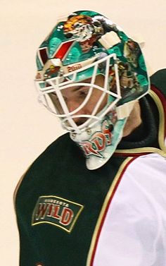 He barely got to wear this mask after injuring his knee during a preseason game, but for the Wild's 10 year anniversary, Harding honored past Wild goalies with depictions of their masks.