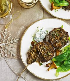 Wild-mushrooms-and-bulgar-wheat-cakes