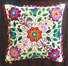 Pillow cushion covers Hand embroidered flowers Sheep & alpaca wool 16 x Hand Embroidery Flowers, Learn Embroidery, Silk Ribbon Embroidery, Embroidered Flowers, Embroidery Stitches, Embroidery Patterns, Art Patterns, Hungarian Embroidery, Japanese Embroidery