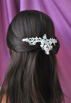 Bridal Ivory Venice Lace Headpiece Elegant by MagnificenceBridal