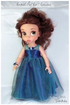 Blue ball gown and flower corsage for Disney Animators Doll! Visit My Little Wardrobe on Etsy