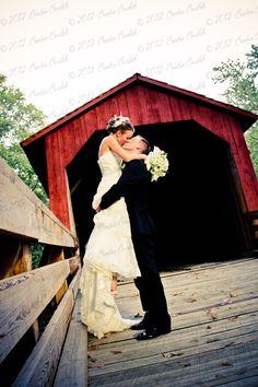 wedding photography, old covered bridge