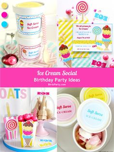 Ice Cream Social party ideas, with DIY decorations, printales, food, games and favors - BirdsParty.com