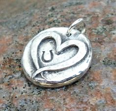 Little Hoof Print on my Heart Pendant or Charm, Rustic Horse Jewelry, Horse Lover Gift, horse shoe print on Etsy, $11.00