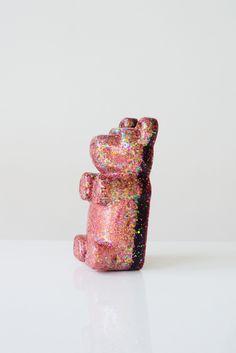 Glitter Pop Art Sculpture in a light pink and iridescent glitter Baby Girl Nursery Decor, Cute Bears, Gummy Bears, Pink Glitter, 50 Shades, Lovers Art, Cute Kids, Sculpture Art, Iridescent