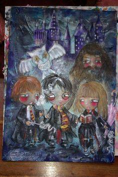 Harry Potter  Hogwarts Type Original Painting by FairyWhisperArt, £120.00