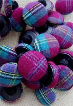 Colourful Vintage Tartan Buttons