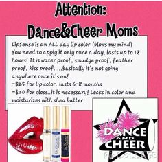 LipSense is perfect for your dancer, cheerleader or gymnast. Schanson76@att.net SeneGence.com/sarasstayputmakeupandskincare