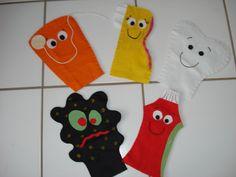 Fantoches: Fio dental, Escova de dente, Dente Saudável, Cárie e Pasta de dente.