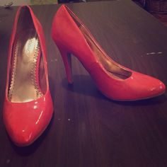 """Updating a Classic"" Modcloth Heel in Coral Only worn once so they are in great condition! Lovely bright coral color. ModCloth Shoes Heels"