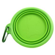 Alfie Pet by Petoga Couture - Rosh Silicone Pet Expandable/Collapsible Travel Bowl with Carabineer for Leash - Size: 1.5 Cups, Color: Green
