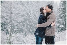 Mt. Hood engagement photos in the snow at the Mirror Lakes Trailhead.