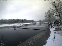 First snow, winter is late to arrive. Raudna river, Karuskose.