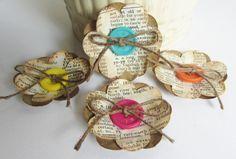 Flores de papel hecho a mano inspirada vendimia para Scrapbooking, bodas, broches, artes alteradas, Mini álbumes, decoración para el hogar, la tarjeta de decisiones