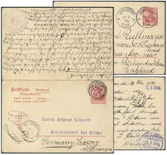 Germany, German Empire, Deutsches Reich 1902, 10 Pfg.-GA-Doppelkarte, von Jonsdorf/Sachsen nach Spennymoor/GB, von dort nach Sachsen zurückgeleitet (Mi.-Nr.P68). Price Estimate (8/2016): 20 EUR. Unsold.