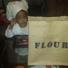 "Flour sack for trick or treat bag. Burlap tote bag with stenciled ""flour"" in matte black paint."