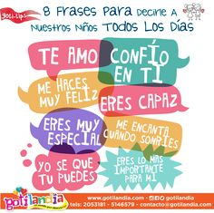 Frases para niños Laura Lee, Kids And Parenting, Parenting Hacks, Motivational Phrases, Inspirational Quotes, Teaching Spanish, Baby Hacks, Quotes For Kids, Happy Kids