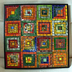 Log Cabin Quilt in Glass: Triptych Mosaic Commission for a 40th ...