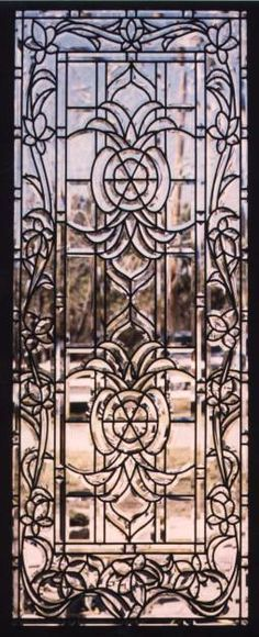 There are over 2000 bevels or 6400 inches of custom beveling in this all-beveled glass door with 2 matching sidelites