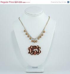 NECKLACE ON SALE Monogram Necklace  Tortoise Shell by CardinalGift, $19.35