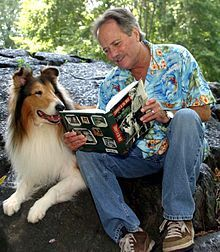 "Jon Provost reads his book "" Timmy in the Well "" to a Rough Collie Rough Collie, Collie Dog, Collie Puppies, Jon Provost, Wire Fox Terrier, Fox Terriers, Dog Pin, Old Shows, Best Dog Breeds"