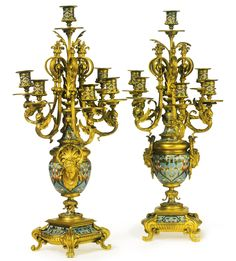 Attributed to Ferdinand Barbedienne<br>1810-1892<br>A pair of gilt-bronze and cloisonné enamel six light candelabra<br>Paris, late 19th century | Lot | Sotheby's