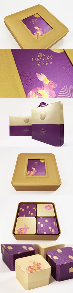 Mooncake Box Design- Majestic Purple throughout Galaxy Hotel. Cake Packaging, Gift Box Packaging, Food Packaging Design, Beverage Packaging, Brand Packaging, Corrugated Packaging, Galaxy Colors, Red Packet, Creative Box
