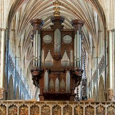 The magnificent regal pipe organ in Exeter Cathedral, UK, was built in 1892 by 'Father' Henry Willis, although the carved wooden organ case by John Loosemore, dates from 1665.