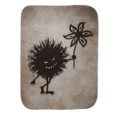 Dark Evil Bug Gives Flower Vintage Texture Burp Cloth $13.95 #baby #gothic
