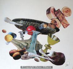 'Still Life' Collage on canvas 80 x 80 cm.