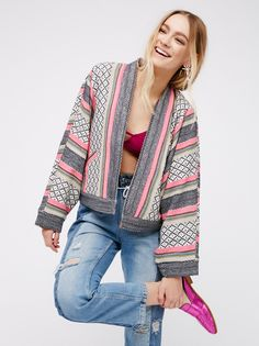 Open Dolman Jacket | Open dolman jacket featuring a bright bohemian print. Side pockets. Lined.