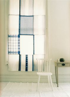 cool idea. patchwork blinds made from tea towels. Cheap way to get fabric! And there are loads of stripey tea towels out there ;)