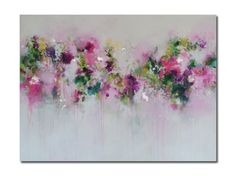 """A large original abstract expressionist painting created using many layers and glazes of acrylic paint in shades of pink, purple, magenta, green and white on hand stretched canvas. This painting has been highlighted here and there with metal leaf which adds extra dimension to the artwork. This beautiful artwork has been varnished for protection and arrives ready to hang with sides painted so there is no requirement framing unless you wish to. 'All The Sweet Promises' 40""""x30""""x1.5""""..."""