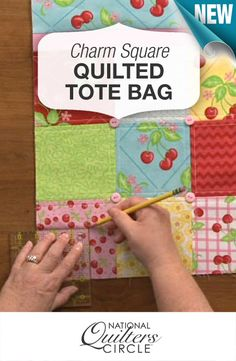 Here's a great quilt project: Use the squares from a Charm Pack to make this cute and handy tote bag! http://www.nationalquilterscircle.com/oh-so-charming-charm-square-quilted-totes/?utm_source=pinterest&utm_medium=organic&utm_campaign=A228 #LetsQuilt