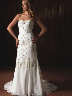 NO.02550552012 style aline sweetheart beading sleeveless sweep brush train chiffon wedding dresses brides