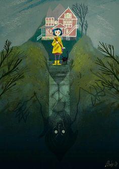 Coraline on Behance Tim Burton Kunst, Tim Burton Art, Coraline Jones, Coraline Movie, Coraline Drawing, Disney Vintage, Coraline Aesthetic, Laika Studios, Anime Kunst