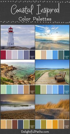 Six beautiful ocean themed photos with associated coastal inspired color palettes to use in your coloring and artistic projects Coastal Color Palettes, Color Schemes Colour Palettes, Coastal Colors, Ocean Colors, Room Color Schemes, Rustic Colors, Colour Pallette, Color Palate, Color Combos